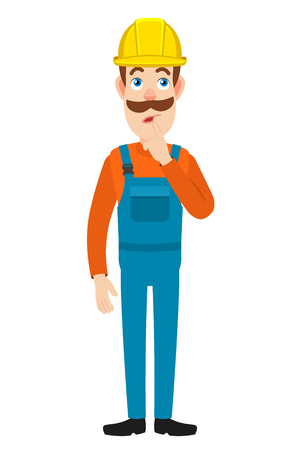 thoughtful: Builder standing with his finger to his lips. Full length portrait of Cartoon Builder Character. Vector illustration in a flat style.