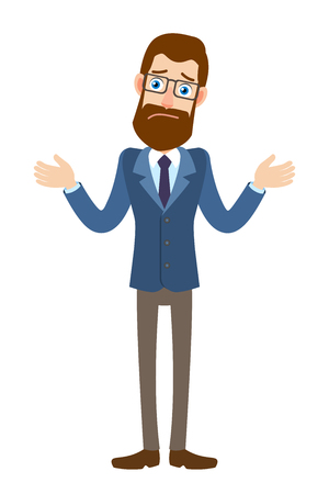 I dont know. Hipster Businessman shrugging his shoulders. Full length portrait of Cartoon Hipster Businessman Character. Vector illustration in a flat style.