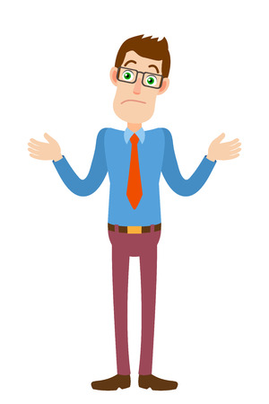know: I dont know. Businessman shrugging his shoulders. Full length portrait of Cartoon Businessman Character. Vector illustration in a flat style.