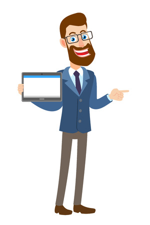 Hipster Businessman holding tablet PC and pointing his finger at pointing something beside of him. Full length portrait of Cartoon Hipster Businessman Character. Vector illustration in a flat style.