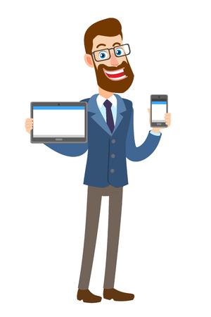 Hipster zakenman tablet pc houden en houden van mobiele telefoon. Volledige lengte portret van Cartoon Hipster zakenman karakter. Vectorillustratie in een vlakke stijl.