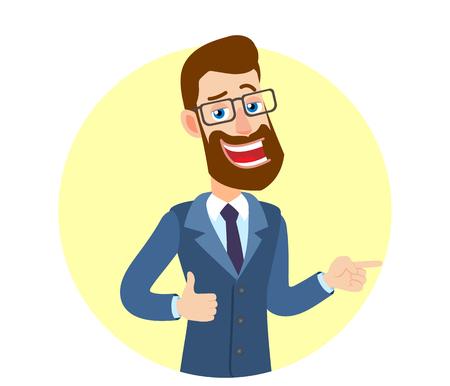 Hipster Zakenman die duim toont en zijn vinger richt op het richten van iets naast van hem. Portret van Cartoon Hipster zakenman karakter. Vectorillustratie in een vlakke stijl.