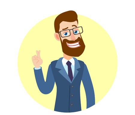 Hipsterzakenman met gekruiste vingers. Portret van Cartoon Hipster zakenman karakter. Vectorillustratie in een vlakke stijl. Stock Illustratie