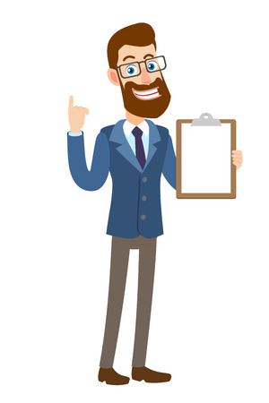 Hipster Businessman showing clipboard and pointing up. Full length portrait of Cartoon Hipster Businessman Character. Vector illustration in a flat style.