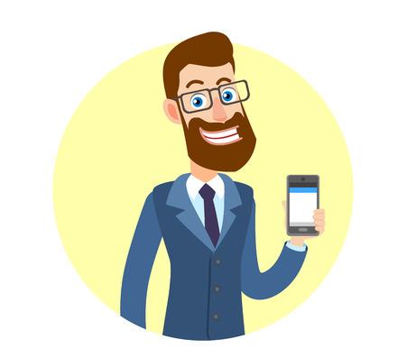 Hipster Zakenman die mobiele telefoon houdt. Portret van Cartoon Hipster zakenman karakter. Vectorillustratie in een vlakke stijl.