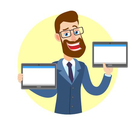 Hipster zakenman houden van tabletten pc. Portret van Cartoon Hipster zakenman karakter. Vectorillustratie in een vlakke stijl. Stock Illustratie