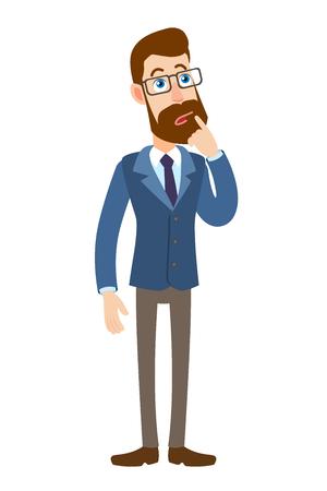 Hipster Zakenman die zich met zijn vinger aan zijn lippen bevindt. Volledige lengte portret van Cartoon Hipster zakenman karakter. Vectorillustratie in een vlakke stijl. Stock Illustratie