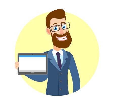 Hipster zakenman tablet pc houden. Portret van Cartoon Hipster zakenman karakter. Vectorillustratie in een vlakke stijl.