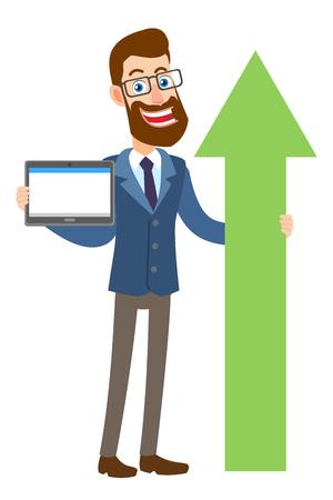 Hipster zakenman tablet pc houden en een groene pijl te houden. Volledige lengte portret van Cartoon Hipster zakenman karakter. Vectorillustratie in een vlakke stijl.