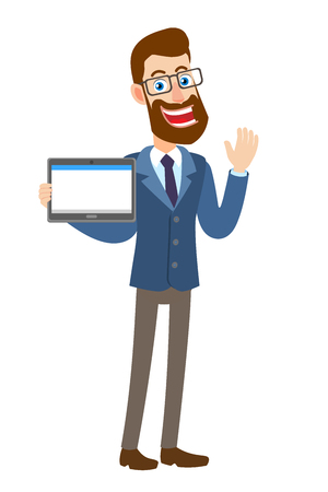 Hipster Businessman holding tablet PC and raised a hand in greeting. Full length portrait of Cartoon Hipster Businessman Character. Vector illustration in a flat style.