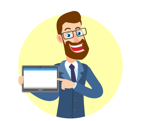 Hipster Businessman pointing his finger at tablet PC. Portrait of Cartoon Hipster Businessman Character. Vector illustration in a flat style.