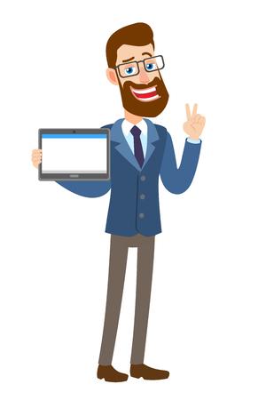 Zege! Hipster zakenman tablet pc houden en tonen overwinning hand teken of citaten hand teken. Volledige lengte portret van Cartoon Hipster zakenman karakter. Vectorillustratie in een vlakke stijl.