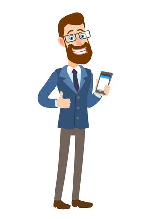 Hipsterzakenman die duim tonen en mobiele telefoon houden. Volledige lengte portret van Cartoon Hipster zakenman karakter. Vectorillustratie in een vlakke stijl. Stock Illustratie