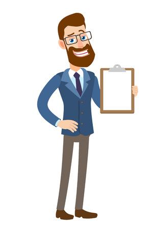 Hipster Zakenman die klembord toont. Volledige lengte portret van Cartoon Hipster zakenman karakter. Vectorillustratie in een vlakke stijl.