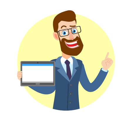 Hipster Businessman holding tablet PC and pointing; up, Portrait of Cartoon Hipster Businessman Character. Vector illustration in a flat style.