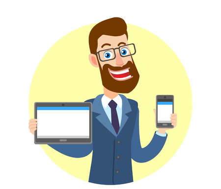 Hipster Businessman holding tablet PC and holding mobile phone. Portrait of Cartoon Hipster Businessman Character. Vector illustration in a flat style. Çizim