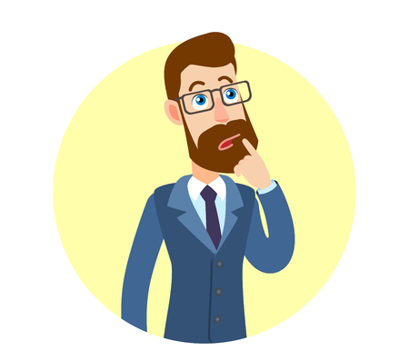 Hipsterzakenman en status met zijn vinger aan zijn lippen. Portret van Cartoon Hipster zakenman karakter. Vectorillustratie in een vlakke stijl. Stock Illustratie