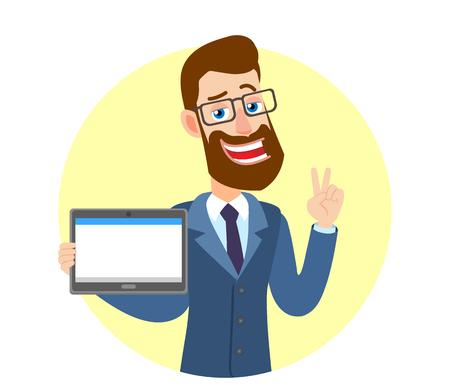 Zege! Hipster zakenman tablet pc houden en tonen overwinning hand teken of citaten hand teken. Portret van Cartoon Hipster zakenman karakter. Vectorillustratie in een vlakke stijl.