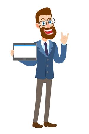 Hipster zakenman tablet pc houden en tonen Rock and Roll teken. Volledige lengte portret van Cartoon Hipster zakenman karakter. Vectorillustratie in een vlakke stijl. Stock Illustratie