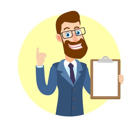 Hipsterzakenman die klembord tonen en benadrukken. Portret van Cartoon Hipster zakenman karakter. Vectorillustratie in een vlakke stijl. Stock Illustratie