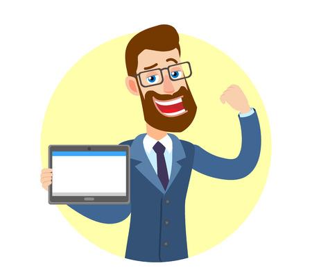 Hipster zakenman tablet pc houden en tonen biceps. Portret van Cartoon Hipster zakenman karakter. Vectorillustratie in een vlakke stijl.