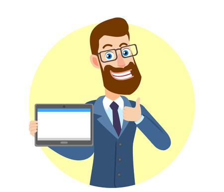 Hipster zakenman tablet pc houden en duim opdagen. Portret van Cartoon Hipster zakenman karakter. Vectorillustratie in een vlakke stijl.