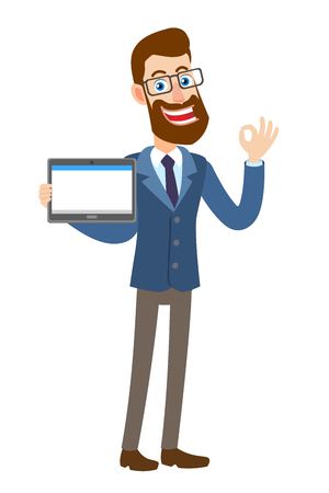 Hipster Businessman holding tablet PC and  showing a okay hand sign. Full length portrait of Cartoon Hipster Businessman Character. Vector illustration in a flat style.