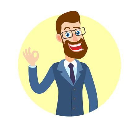 Hipsterzakenman die een ok handteken toont. Portret van Cartoon Hipster zakenman karakter. Vectorillustratie in een vlakke stijl.