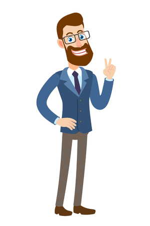 Victory Hipster Zakenman die overwinningsteken toont. Twee duimen omhoog. Volledige lengte portret van Cartoon Hipster zakenman karakter. Vectorillustratie in een vlakke stijl.