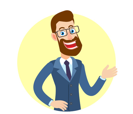 Welcome! Hipster Businessman inviting or showing somewhere. Portrait of Cartoon Hipster Businessman Character. Vector illustration in a flat style.