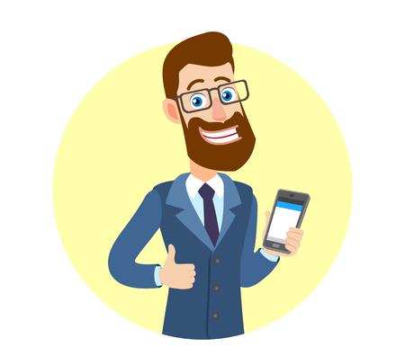 Hipsterzakenman die duim tonen en mobiele telefoon houden. Portret van Cartoon Hipster zakenman karakter. Vectorillustratie in een vlakke stijl.