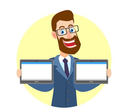 Hipsterzakenman die twee tablettenpc houden. Portret van Cartoon Hipster zakenman karakter. Vectorillustratie in een vlakke stijl. Stock Illustratie