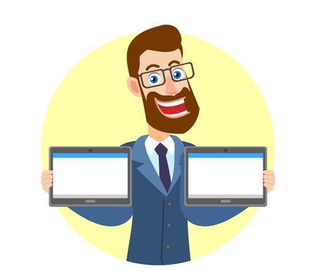Hipster Businessman holding two tablets PC. Portrait of Cartoon Hipster Businessman Character. Vector illustration in a flat style. Illustration