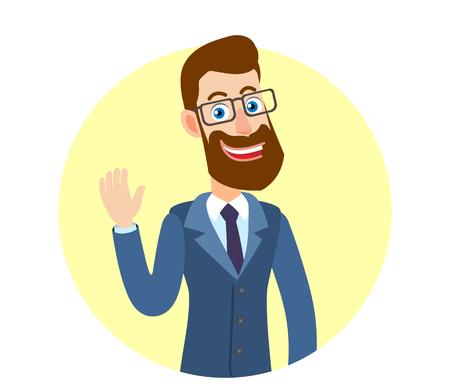 Hipster zakenman hief een hand in groet. Portret van Cartoon Hipster zakenman karakter. Vectorillustratie in een vlakke stijl.