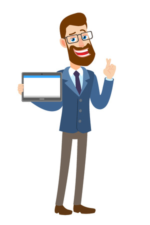 Hipster Businessman with crossed fingers holding tablet PC. Full length portrait of Cartoon Hipster Businessman Character. Vector illustration in a flat style.