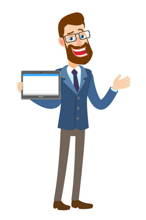 Hipster Businessman holding tablet PC and gesticulating. Full length portrait of Cartoon Hipster Businessman Character. Vector illustration in a flat style.