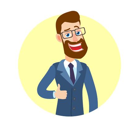 Hipster zakenman duim opdagen. Portret van Cartoon Hipster zakenman karakter. Vectorillustratie in een vlakke stijl.