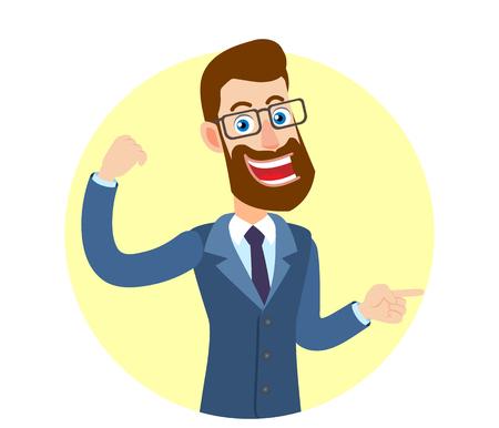 Hipster Zakenman die bicepsen toont en iets naast hem richt. Portret van Cartoon Hipster zakenman karakter. Vectorillustratie in een vlakke stijl.
