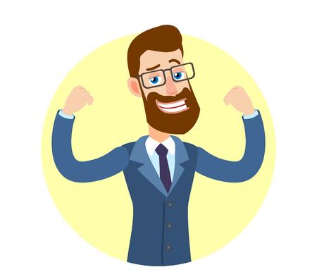 Hipsterzakenman die bicepsen toont. Portret van Cartoon Hipster zakenman karakter. Vectorillustratie in een vlakke stijl.