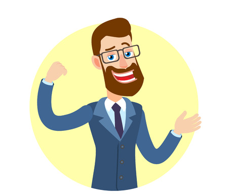 Hipster Businessman showing biceps and gesticulating. Portrait of Cartoon Hipster Businessman Character. Vector illustration in a flat style.