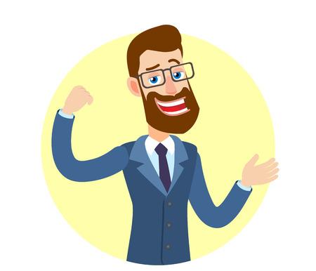 Hipsterzakenman die bicepsen en het gesticuleren toont. Portret van Cartoon Hipster zakenman karakter. Vectorillustratie in een vlakke stijl.