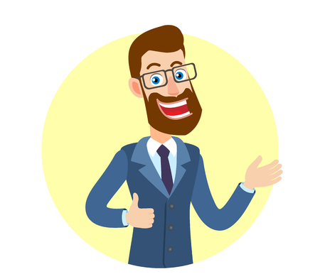 Hipster Businessman showing thumb up and gesticulating. Portrait of Cartoon Hipster Businessman Character. Vector illustration in a flat style.