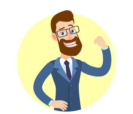 Hipsterzakenman die toont hoe sterk hij is. Portret van Cartoon Hipster zakenman karakter. Vectorillustratie in een vlakke stijl.