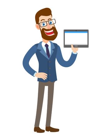Hipster zakenman tablet pc houden. Volledige lengte portret van Cartoon Hipster zakenman karakter. Vectorillustratie in een vlakke stijl.
