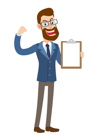 Hipster Businessman showing clipboard and showing biceps. Full length portrait of Cartoon Hipster Businessman Character. Vector illustration in a flat style.