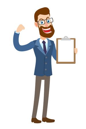 Hipsterzakenman die klembord tonen en bicepsen tonen. Volledige lengte portret van Cartoon Hipster zakenman karakter. Vectorillustratie in een vlakke stijl. Stock Illustratie
