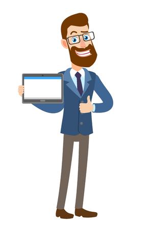 Hipster zakenman tablet pc houden en duim opdagen. Volledige lengte portret van Cartoon Hipster zakenman karakter. Vectorillustratie in een vlakke stijl.
