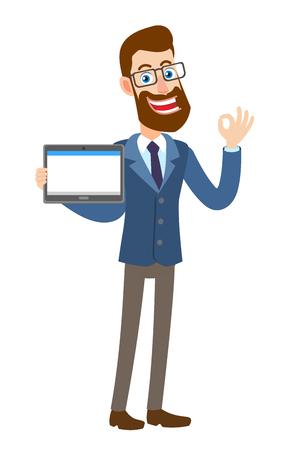 Hipster zakenman tablet pc houden en een oke handteken tonen. Volledige lengte portret van Cartoon Hipster zakenman karakter. Vectorillustratie in een vlakke stijl.
