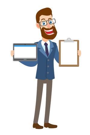 Hipster zakenman tablet pc houden en Klembord weergegeven. Volledige lengte portret van Cartoon Hipster zakenman karakter. Vectorillustratie in een vlakke stijl. Stock Illustratie