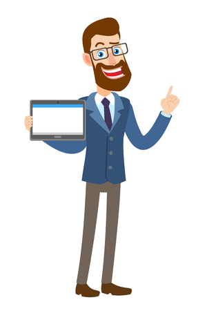 Hipster Businessman holding tablet PC and pointing; up, Full length portrait of Cartoon Hipster Businessman Character. Vector illustration in a flat style.